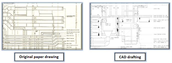 Original paper drawing & CAD drafting